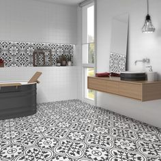 These Ledbury Charcoal Black Pattern Tiles are ideal for creating a vintage encaustic styled statement floor in an interior space. Black Tile Bathrooms, Bathroom Floor Tiles, Wall And Floor Tiles, Bathroom Tile Patterns, Ceramic Floor Tiles, Kitchen Tiles, Small Toilet Room, Small Bathroom, Victorian Tiles