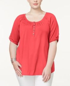 Ny Collection Plus Size Elbow-Sleeve Henley Top - Orange 1X