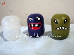 recycled Kinder Egg monsters by Sandra Daimaru