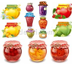 546_deoci.com_13 Vector fruits, jams, canned fruit pulp packaging design glass bottle vector EPS files for free download