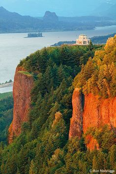 The Oregon side of the Columbia River Gorge. This is Crown Point Vista House built in 1916.