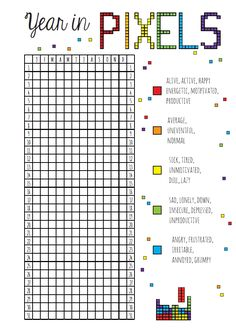 Year in Pixels Free Planner Printable Other versions on piranhaprinzessin.com (Shed Plans Blue Prints)