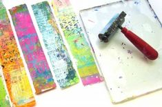Making jewelry with Gelli printed® packing tape workshop with Carolyn Dube