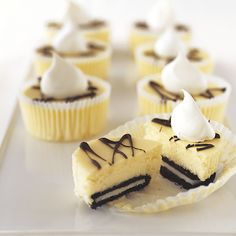 OREO Mini Cheesecakes! Made these for office party and they were gone! Super easy to make and I added about 3 oz or sour cream to the mix