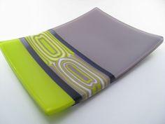 Fused Glass Patterns | Fused Glass Dish Green Purple Pattern Bar by GlassArtByMargot