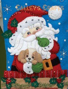 Kit de media de la Navidad de Bucilla Santa secreto 18 Felt Stocking Kit, Christmas Stocking Kits, Felt Christmas, Christmas Stockings, Christmas Crafts, Christmas Decorations, Christmas Ornaments, Holiday Decor, Christmas Drawing