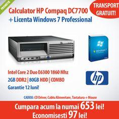 Calculatorul HP Compaq DC7700 cu procesor Core 2 Duo E6300, memorie 2GB RAM, 80GB HDD SATA, COMBO + Licenta Windows 7 Professional, la numai 653 de lei! Garantie 12 luni si transport GRATUIT!