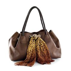 PRETTY IS AS PRETTY DOES - BROWN Animal friendly leather with exotic texture, braided handle and animal print scarf detail. 9½ x 6½ x 18½ Item: 69012 $69.00