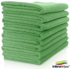 VIBRAWIPE MICROFIBER CLOTH - Pack of 8 Pieces (All-Green or 4-Color) Microfiber Cleaning Cloths, HIGH ABSORBENT, LINT-FREE, STREAK-FREE, Kitchen Cloth, Kitchen Towel, Drying Cloth, Microfiber Towel, For Kitchen, For Car, For Windows, Cleans Without Chemicals, All-Purpose Household Cleaning Cloths, Satisfaction Guaranteed. VibraWipe