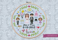 This little cross stitch pattern is perfect to celebrate a wedding or your anniversary! It includes a pattern where you can draw your names and date and an alphabet + numbers pattern! If stitched on 14 count aida or linen, it can be framed in a 8 hoop! CROSS STITCH PATTERN DETAILS: Stitches: 105x105 Size (with 14 count Aida fabric): 19x19 cm – 7.5x7.5 in  With purchase, youll receive a DOWNLOAD LINK to a PDF pattern that includes: - Cover page with image and pattern size - Full color chart…