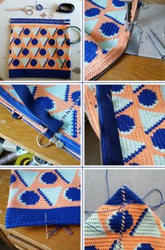 Free geometric bag pattern from Molla Mills (English translations included) Modern Crochet, Diy Crochet, Hand Crochet, Crochet Hats, Tapestry Bag, Tapestry Crochet, Crochet Clutch Pattern, Crochet Patterns, Mochila Crochet