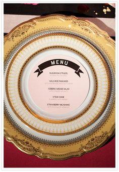 vintage wedding menu