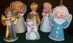 Lot of 6 Vintage Angel Tree Toppers Large Vinyl Paper Tulle Glitter Japan | eBay