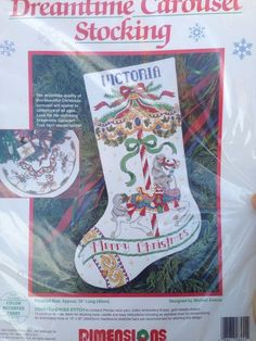 Dreamtime Carousel Horse Christmas Counted Cross Stitch Stocking Kit Dimensions