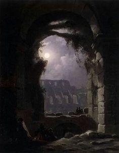 Vista nocturna del coliseo - Carl Gustav Carus - Óleo sobre lienzo