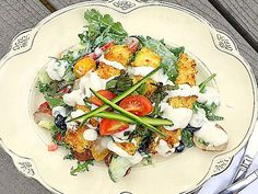 Farmer's Chopped Salad with Zucchini Patties as croutons. What a great #WeekdaySupper recipe