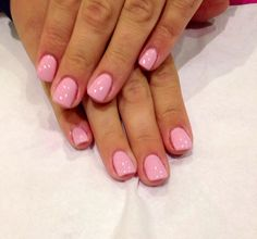 Short pink acrylic nails
