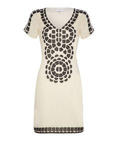 Cream & black appliqué dress by Almost Famous on secretsales.com