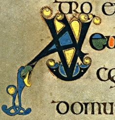 Book of Kells - initial letter A and letter V