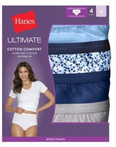 a43c9f34d19 Hanes Women s Ultimate Cotton Comfort Briefs 4-Pack - Assorted Blues - Size  5-