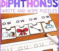 Diphthongs Write and Wipe Puzzles - Education to the Core
