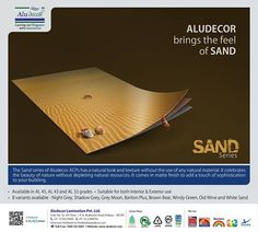 Give the natural look and texture to your #building with Aludecor Sand Series #ACP and celebrate the beauty of #nature. http://www.aludecor.com/decors