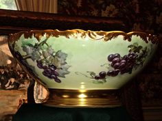 Limoges Huge T&V Grape Filled Footed Punch Bowl with Heavy Gold from allthingslovelee on Ruby Lane