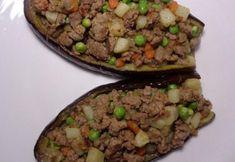 4 recetas para cenar sin hidratos - ¡Ideales para adelgazar! - Berenjenas rellenas de carne picada Carne Picada, Relleno, Baked Potato, Tacos, Potatoes, Beef, Baking, Ethnic Recipes, Stuffed Eggplant Recipes