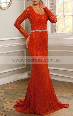 Long Sleeves Zipper Lace Square Sheath Formal Dresses gjea70273--Hodress