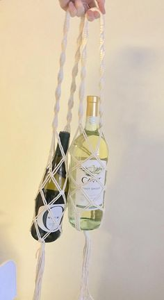 8675318df2 Wine Tote   Water Bottle Holder   Macrame Bag   Wine holder   Gifts under 25