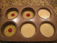 I use regular muffin tin and tidbits. The trick is to not add to much cake batter. Only fill about 2/3 to 3/4 full