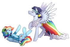 Soarin': *slowly walks into locker room* Dash: Hey, Soarin'! Soarin': Huh? *tiredly looks Dash's direction* Oh, hey Rainb- *slips* Dash: *quickly supports him with her wing* uh, watch where you're ...
