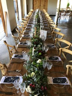 Beautiful long garlands for the guest tables. Love using green garlands for weddings. Designed by Bliss Floral Creations Green Garland, Garlands, Personalized Wedding, Bliss, Floral Design, Table Settings, Tables, Table Decorations, Weddings