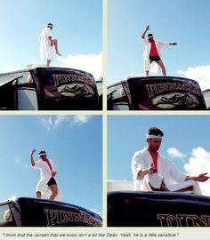 [GIFSET] SPN Mockumentary #Jensen #bowlegs