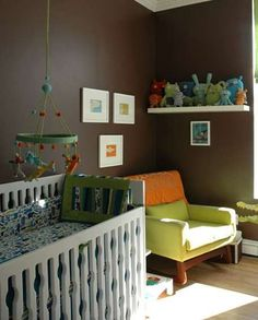 Another unisex nursery.  The bedding on the crib is the same fabric in River's room (curtains and bumpers)!  Love that mobile.