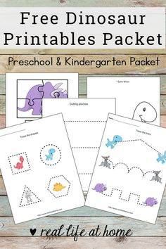Basic skills practice with this dinosaur printables packet! Free worksheets packet for preschool children featuring coloring, cutting, pre-writing, and more #dinosaur #DinosaurPrintables #DinosaurWorksheets #FreePrintables #FreeWorksheets