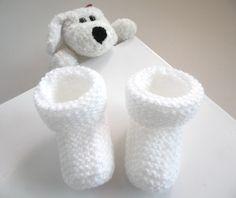 Chaussons BLANCS Baby à revers tricot laine bébé fait main : Mode Bébé par bleu-blanc-neige