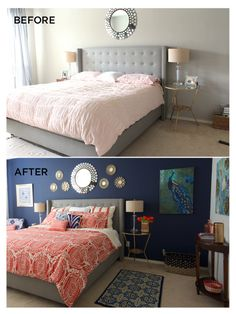 Wall color. Sherwin Williams' Naval...love the navy wall, grey bed, linen lamp shades, pop of coral...