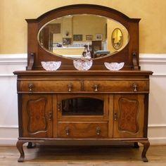 Antique English Walnut Art Nouveau Mirror Back Sideboard, Server, Buffet.  c.1900