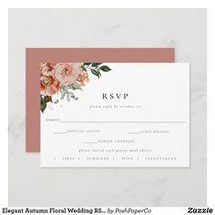 Wedding Rsvp, Floral Wedding, Fall Wedding, Watercolor Wedding, Floral Watercolor, Dusty Rose Color, Response Cards, Floral Bouquets, Zazzle Invitations