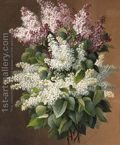 Lilacs by Raoul Maucherat de Longpre - Reproduction Oil Painting Lilac Painting, Painting Frames, Most Famous Paintings, Cardboard Tubes, Oil Painting Reproductions, Lilacs, Wooden Bar, Frame Shop, Artist At Work