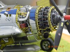 P 47 model engine. 1 48 or 1 Beautifully done, anyway. Aircraft Propeller, Aircraft Engine, Mercedes Stern, P 47 Thunderbolt, Model Hobbies, Model Airplanes, Model Ships, Model Building, Plastic Models