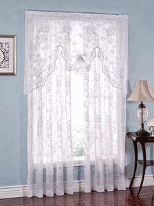 Abbey Rose 55 W X 38 L Lace Curtain Swagger White