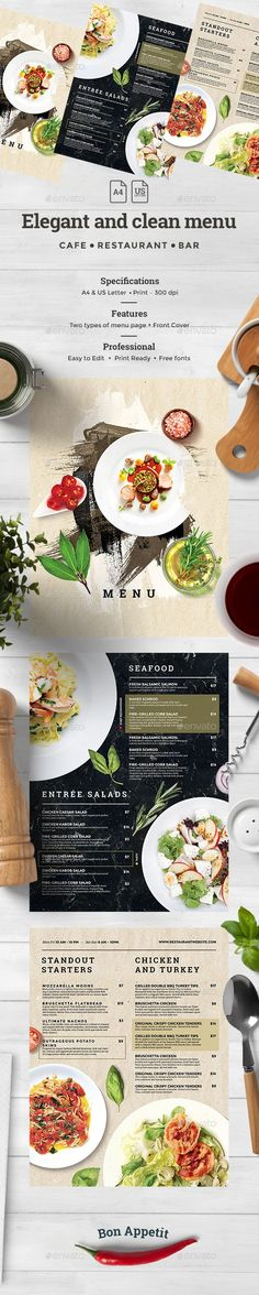 Food Menu File info:Restaurant Food Menu Template and US Letter with bleed Mode: CMYK Files included: 6 PSD Editable Files All images – included. Used only free fonts! Food Menu Template, Restaurant Menu Template, Restaurant Menu Design, Restaurant Recipes, Restaurant Website, Menu Templates, Web Design, Drink Menu, Food And Drink