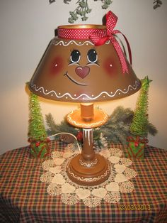Hand-painted* Large Vintage Toleware Lamp* Gingerbread Girl/Man* Christmas, but as Santa