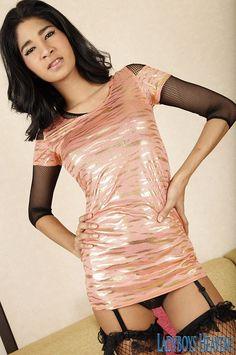 """Hot Asian TS """"Peemai"""" wearing a pink dress and stockings. #ladyboy #shemale #tgirls"""