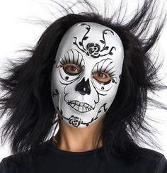 Skull-Skeleton-Mask-Day-of-the-Dead-Dia-de-los-Muertos-Costume-Roses-Black-White