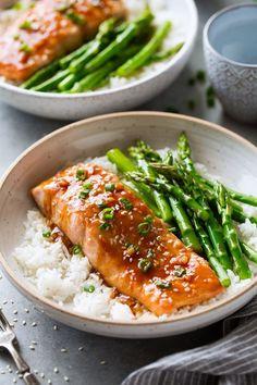 Baked Teriyaki Salmon, Baked Salmon Recipes, Fish Recipes, Seafood Recipes, Chicken Recipes, Teriyaki Sauce, Salmon Marinade, Grilled Salmon, Vegetarian Recipes