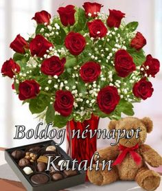 Boldog névnapot Katalin! - Megaport Media Tropical Flower Arrangements, Tropical Flowers, Share Pictures, Animated Gifs, Holiday Images, Name Day, Happy Birthday Images, Topiary, Cut Flowers