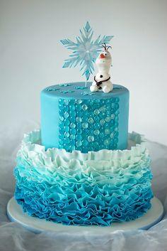 Disney Themed Cakes - Disney Frozen cake, Ombre fondant ruffles, Isomalt sugar gems, fondant toppers.